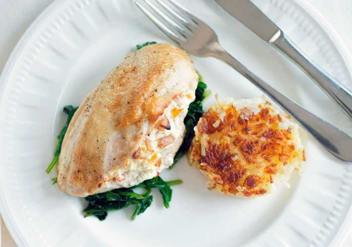 Baked chicken stuffed with mango and macadamia nuts
